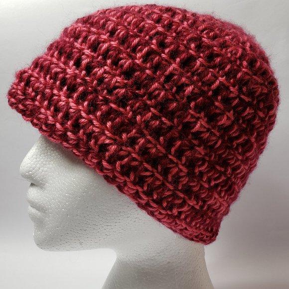 Burgundy & Pink Beanie Hat
